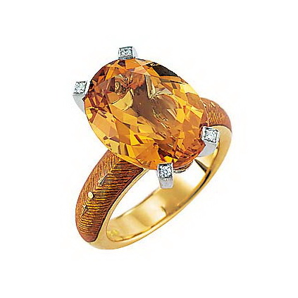 Diamond-set, yellow-white gold ring with autumn yellow guilloche enamel and Palmeiry citrine