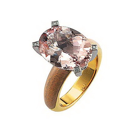 Diamond-set, yellow-white gold ring with opal white guilloche enamel and morganite