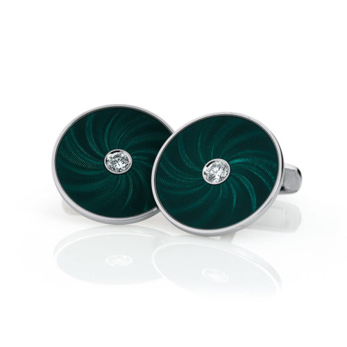 Round diamond set gold cuff links with emerald green guilloché enamel with a windmill pattern