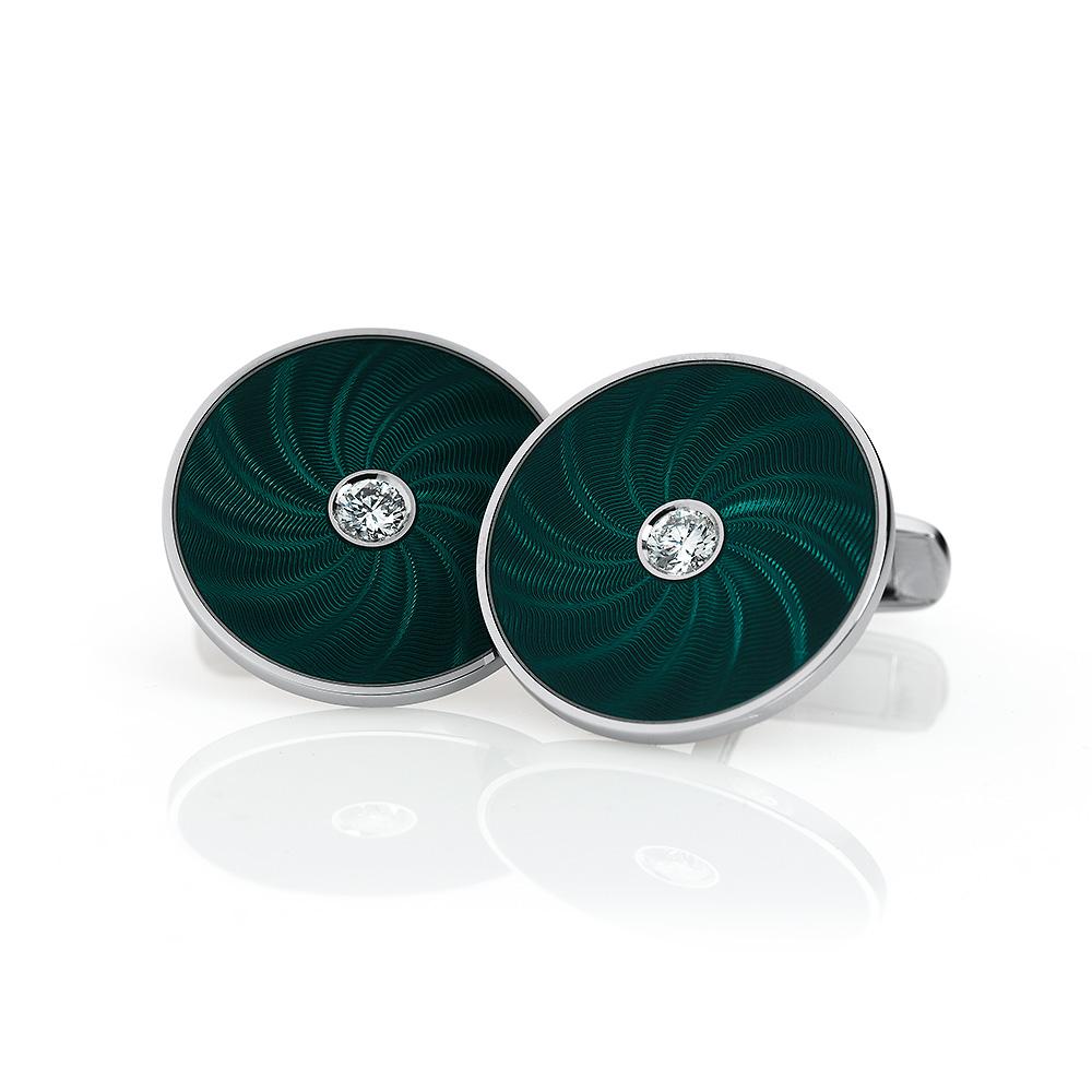 Runde diamant-besetzte Gold-Manschettenknöpfe mit smaragdgrünem Guilloché-Email