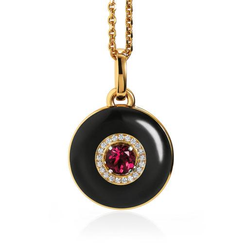 Diamond set, yellow-white-gold pendant with black guilloche enamel and rubellite