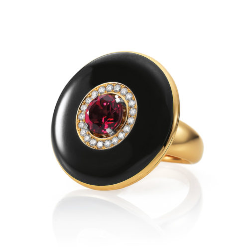 yellow-white-gold ring with black guilloche enamel and rubellite