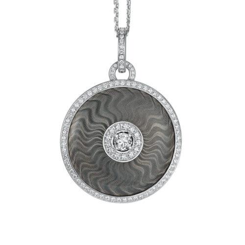 Diamond-set, white gold pendant with silver guilloche enamel