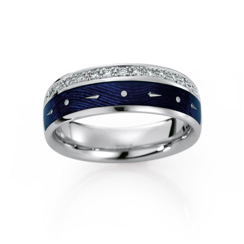Diamond-set, white gold ring with blue guilloche enamel and paillons