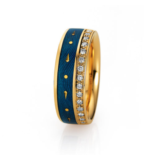 Diamond-set, yellow gold ring with medium blue guilloche enamel and paillons