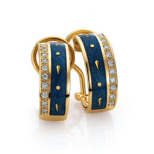 Diamond-set, yellow gold earrings with medium blue guilloche enamel and paillons