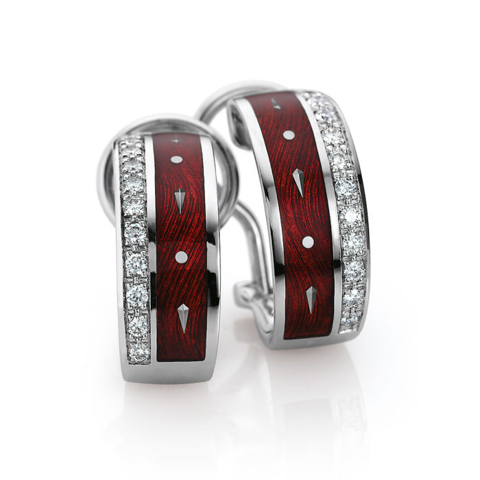 diamond-set, white gold earrings with red guilloche enamel and paillons