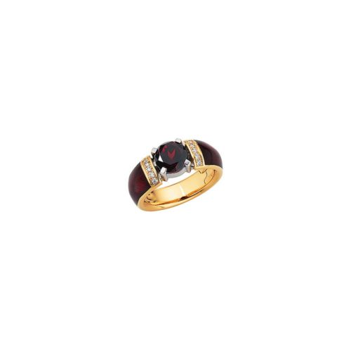 Diamond-set, yellow gold ring with red guilloche enamel and Ceylon garnet