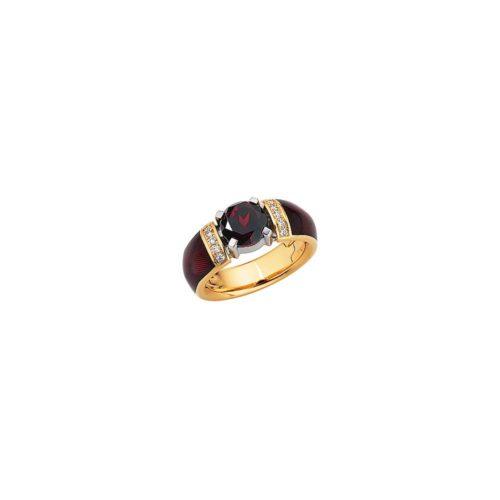 gravierter Gold Ring mit Diamanten, rotem Emaille und rotem Stein