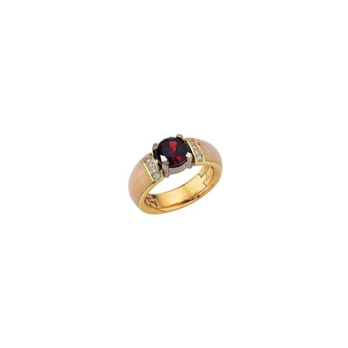 diamond-set, yellow-white-gold ring with opal white guilloche enamel and Ceylon garnet