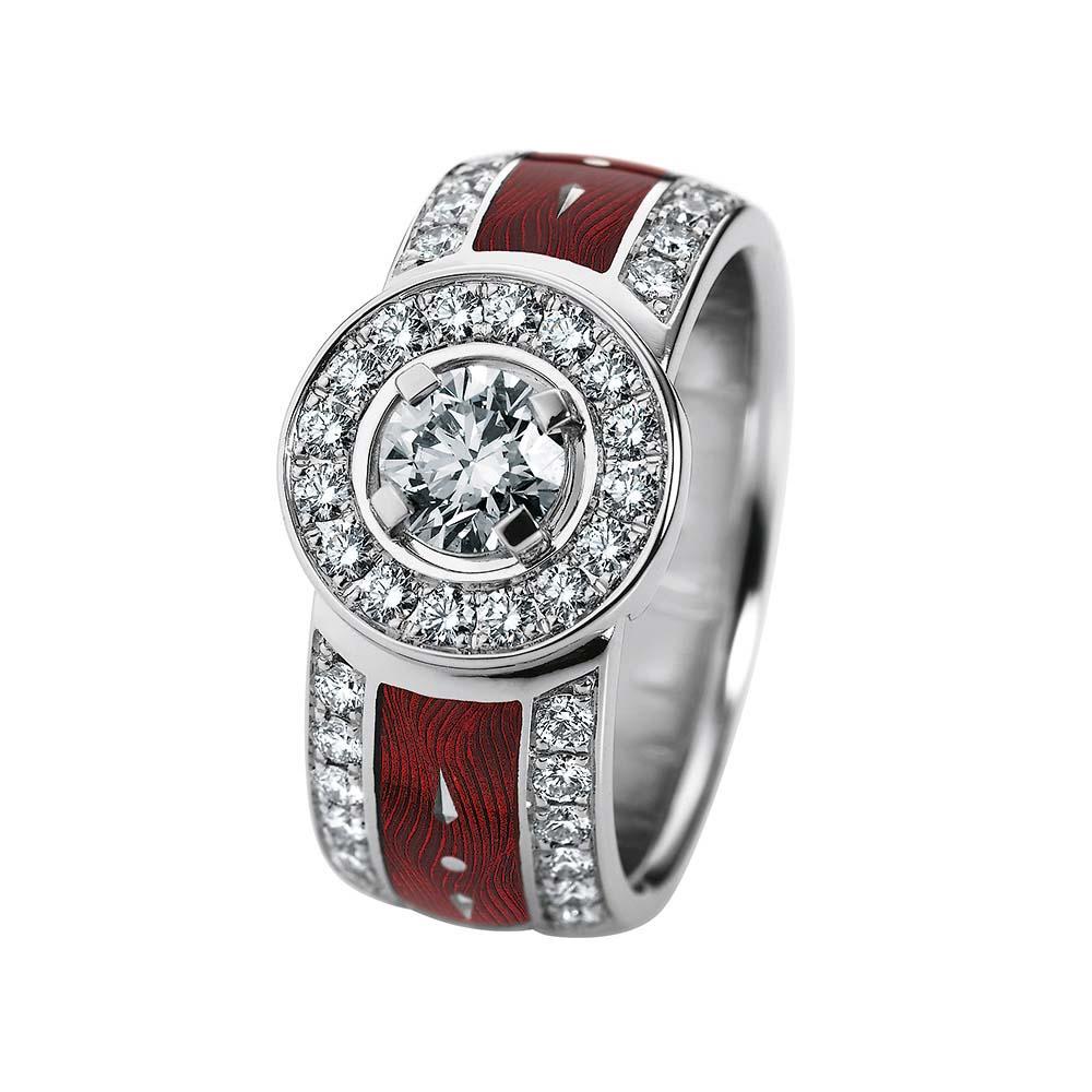 gravierter Gold Ring mit Diamanten und rotem Emaille