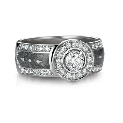 gravierter Gold Ring mit Diamanten und silberfarbenem Emaille
