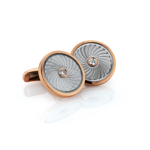 Round diamond set white and rose gold cuff links with windmill guilloché engraving