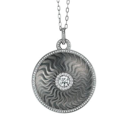 Diamond-set, yellow-white-gold pendant with silver guilloche enamel