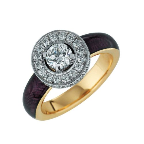 diamond-set, yellow-white-gold ring with lilac guilloche enamel