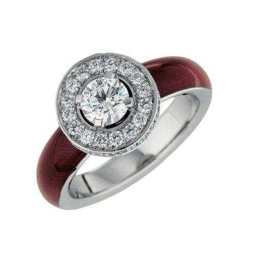 Diamant-besetzter Gold-Ring mit hellrot emailliertem Guilloche