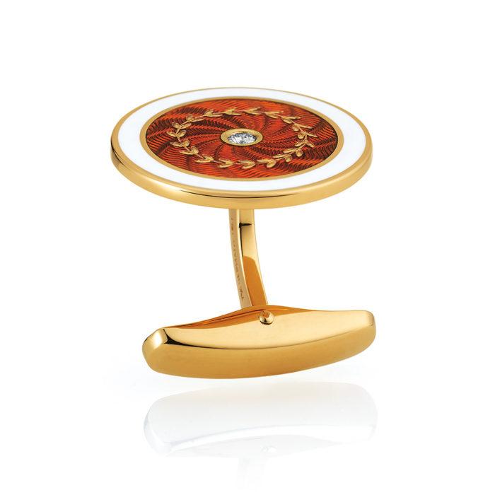 Diamant und Paillon besetzte Gold-Manschettenknöpfe mit rot und weiß emailliertem Guilloche