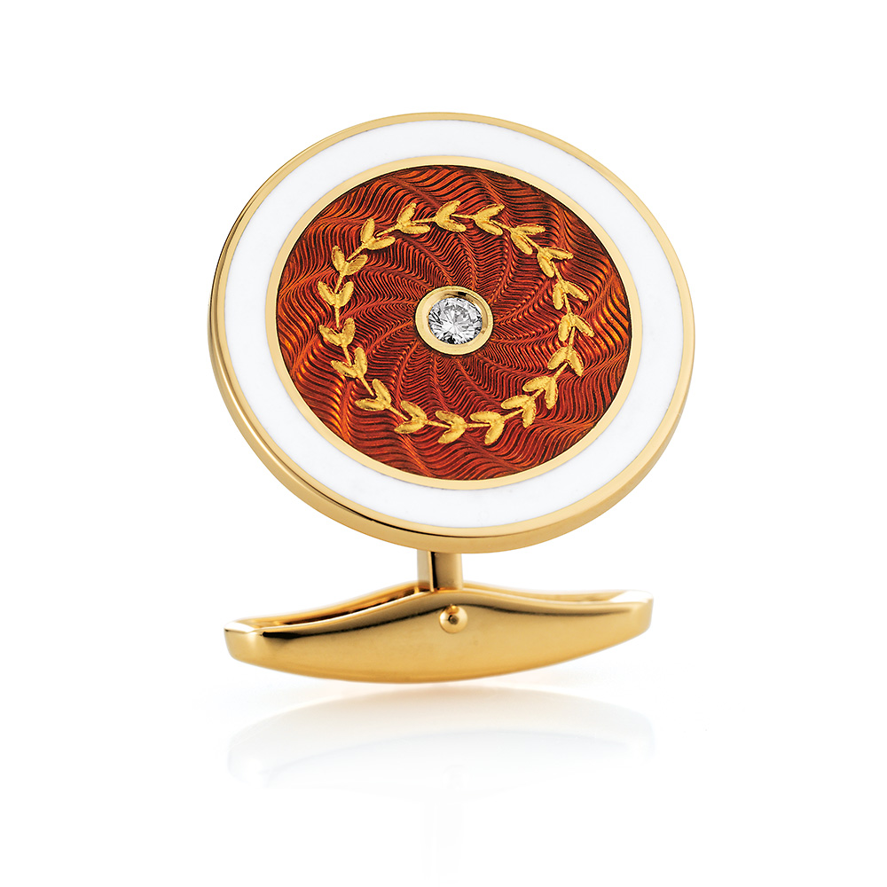 Round diamond set gold cufflinks with red and white guilloche enamel and paillon inlays