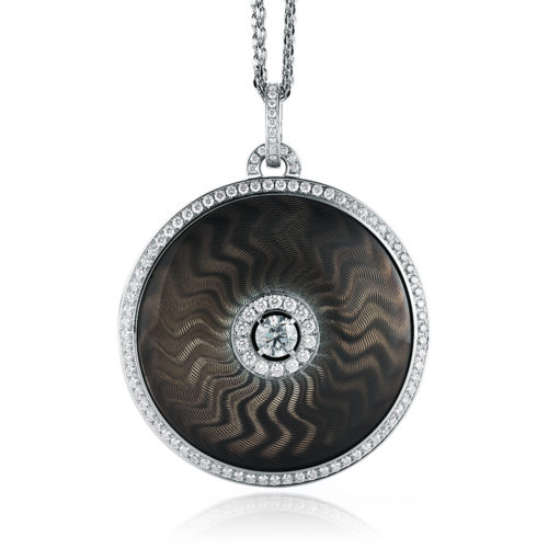 Diamond-set, sterling silver with white gold pendant with brown grey guilloche enamel