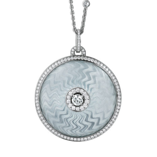Diamond-set, sterling wilver with white gold pendant with silver guilloche enamel