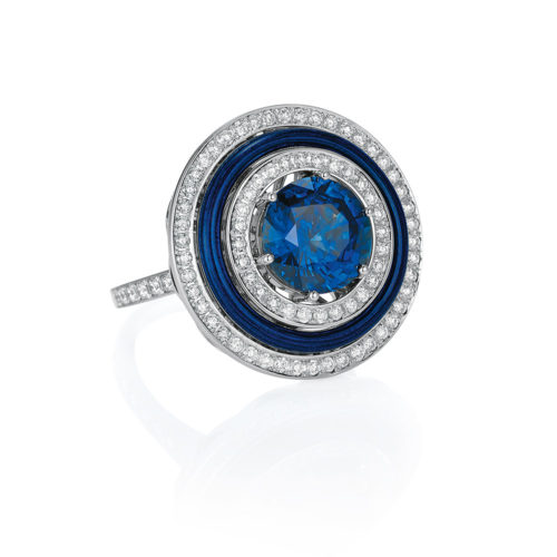 Diamond-set, white gold ring with electric blue guilloche enamel and tanzanite