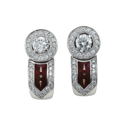 diamond-set, white gold earrings with aubergine red guilloche enamel