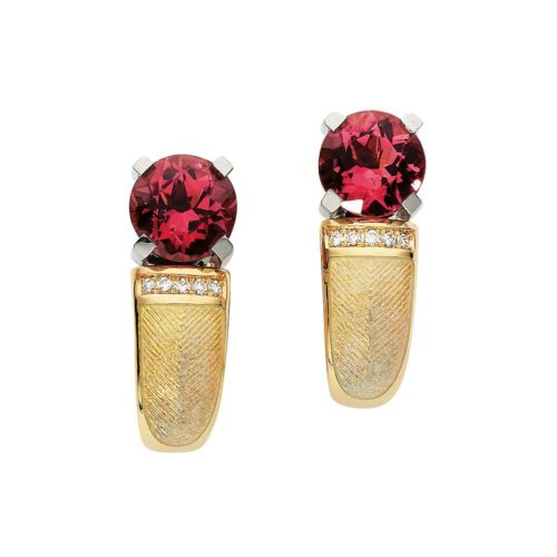 diamond-set, yellow-white-gold earrings with opal white guilloche enamel and pink tourmaline