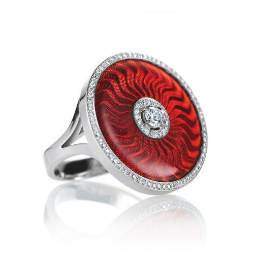 diamond-set, white-yellow-gold ring with light red guilloche enamel