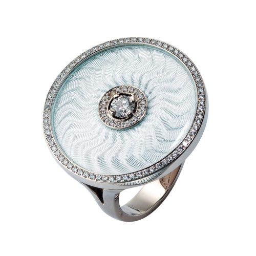 diamond-set, white gold with sterling silver ring with silver guilloche enamel