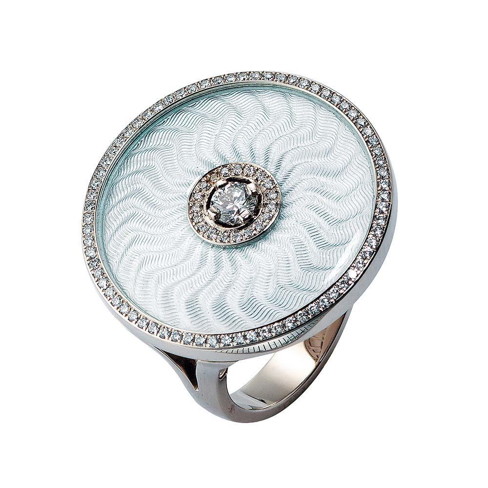 gravieter Gold Ring mit Brillanten und silberfarbenem Emaille
