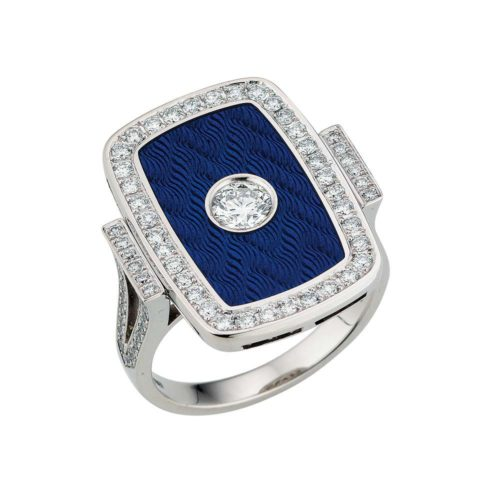 Diamond-set, white gold ring with electric blue guilloche enamel