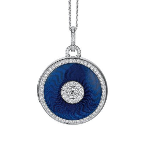 diamond-set, white gold locket-pendant with electric blue guilloche enamel
