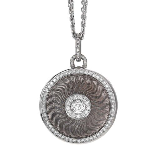 diamond-set, white gold locket-pendant with silver guillohe enamel