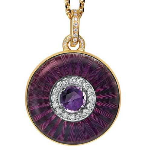 yellow gold, round, locket-pendant with purple enamel, diamond setting and amthyst
