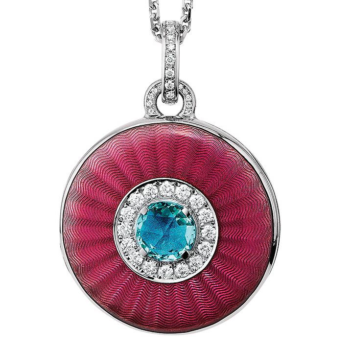 white gold, round, locket-pendant with pink enamel, diamonds and aquamarine