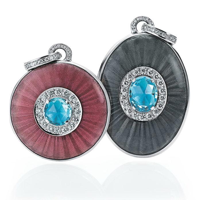 white gold locket-pendants with enamel, diamonds and aquamarine
