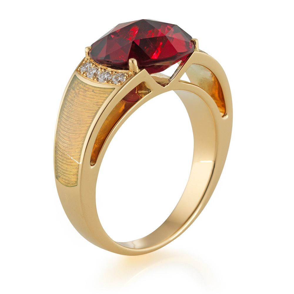 diamond-set, yellow gold ring with opal white guilloche enamel and rubellite