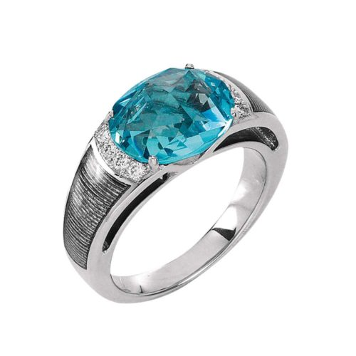 Diamond-set, white gold ring wth silver guilloche enamel and aquamarine