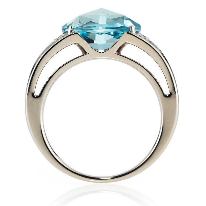 Diamond-set, white gold ring wth silver guilloche enamel and aquamarine