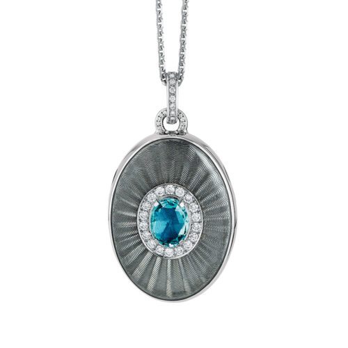 Diamond-set, white gold locket-pendant with silver guilloche enamel and aquamarine