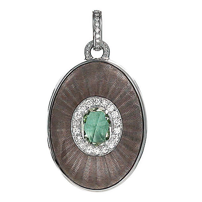 diamond-set, white gold locket-pendant with silver guilloche enamel and heliodor