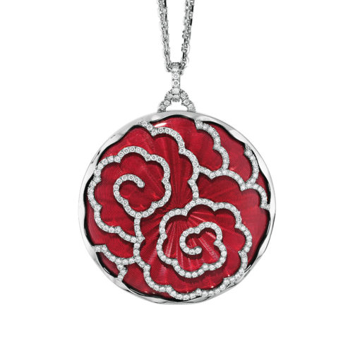 Diamond-set, white gold pendant with light red guilloche enamel