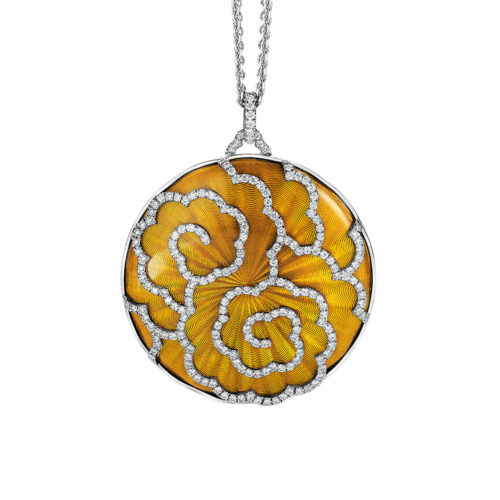 round white gold diamond-set gold pendant with amber guilloche enamel with art deco motif