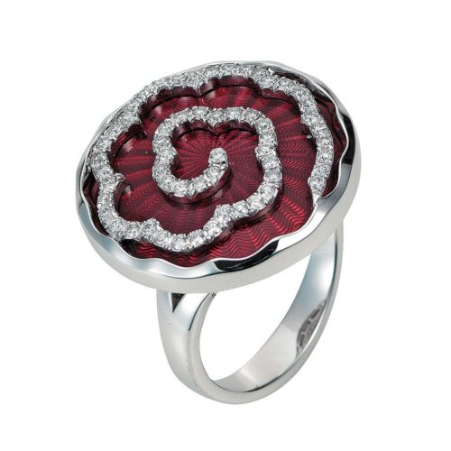 Diamond-set, white gold ring with light red guilloche enamel