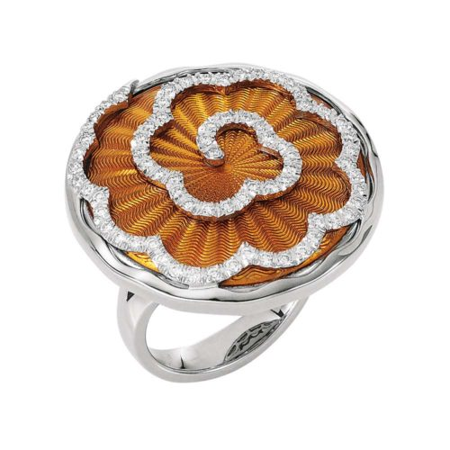 Diamond-set, white-yellow gold ring with amber coloured guilloche enamel