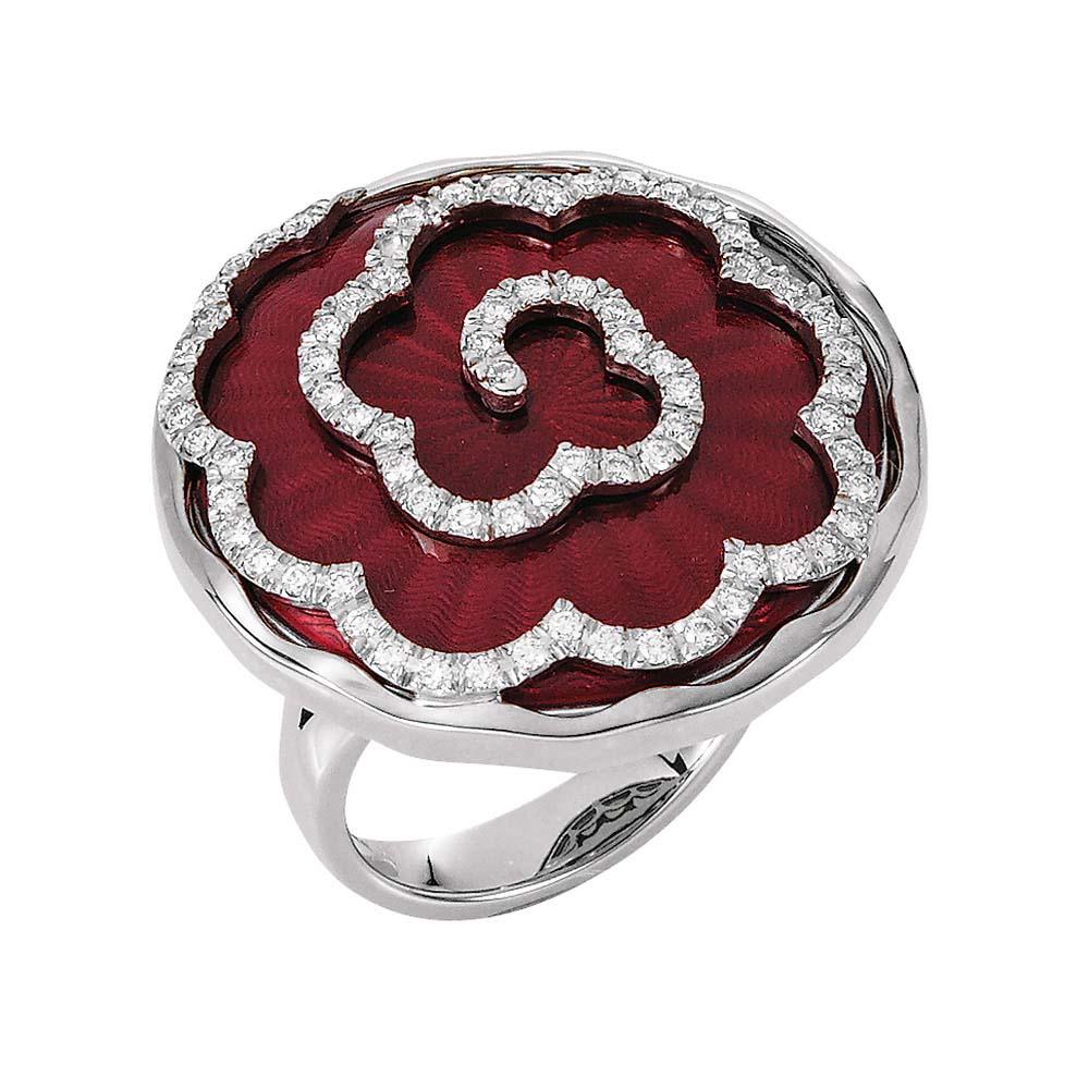 weiß-goldener, diamant-besetzter Gold-Ring mit hellrot emailliertem Guilloche