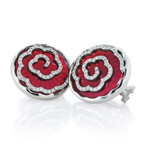 Diamond-set, white gold earrings with light red guilloche enamel