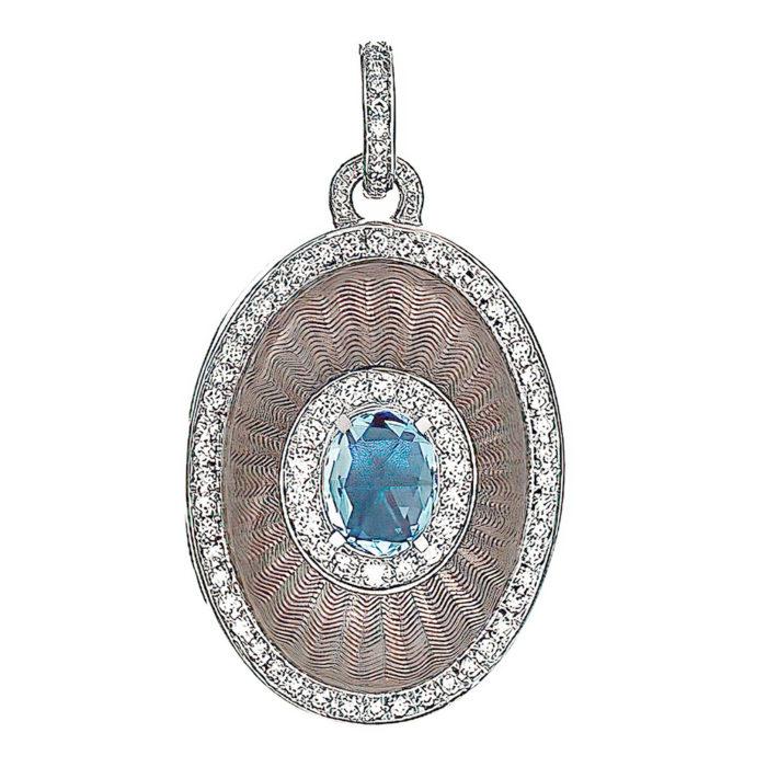 Diamond-set, white gold locket-pendant with silver guilloche enamel and aquamarine