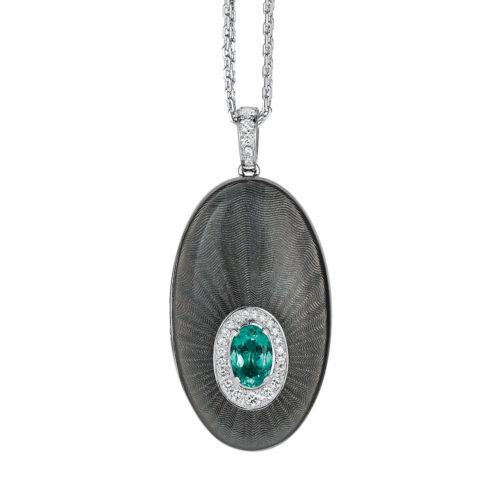 Diamant-besetztes Medaillon mit silberfarben emailliertem Guilloche und Paraiba Turmalin