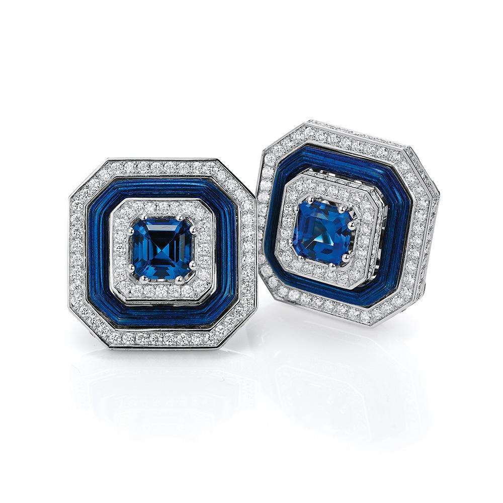 Diamant-besetzter Gold-Ring mit blau emailliertem Guilloche und Tansaniten